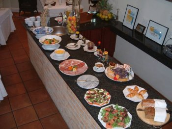 Breakfast buffet at Gable Manor Guesthouse accommodation Franschhoek luxury bed & breakfast accommodation Winelands Cape Town